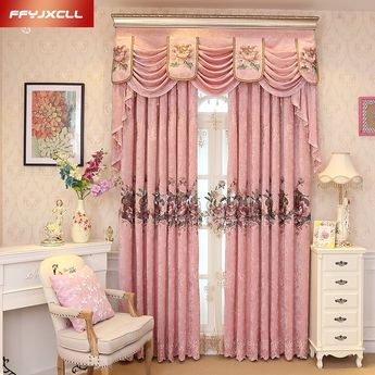 Custom Made Luxury Embroidered Valance Decoration Pink Cloth Curtain For living Room Bedroom Window Treatment Drapes Tulle -in Curtains from Home & Garden on Aliexpress.com   Alibaba Group
