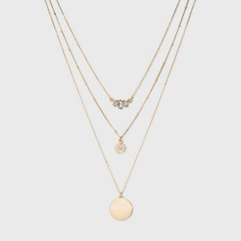 SUGARFIX By BaubleBar Embellished Layered Pendant Necklace - Gold : Target