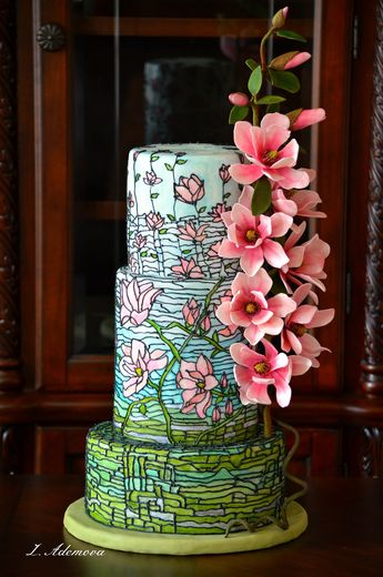 Magnolia Stained Glass Cake