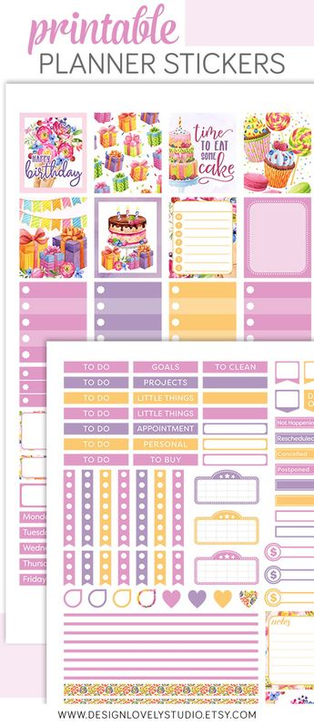 birthday planner sticker kit printable birthday planner s