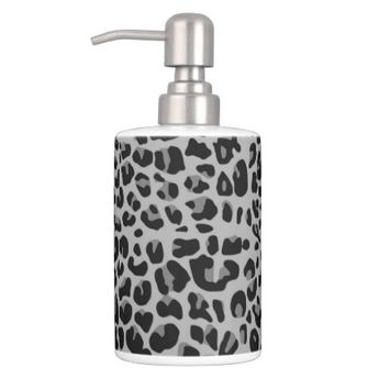 f62396ae1de2 Leopard Soap Dispenser   Toothbrush Holder - pattern sample design template  diy cyo customize