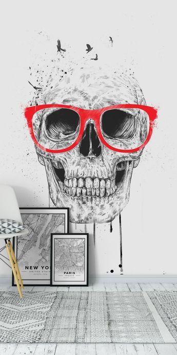 Skull with red glasses Wall Mural / Wallpaper Art