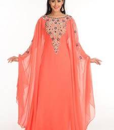 4aba582faf Peach zari work stones   beads embellish georgette islamic style arabian  maxi partywear kaftan