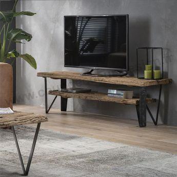 Meuble TV en bois brut style tronc d'arbre 2 plateaux et pieds métal sur www.coupdecoeur-design.fr