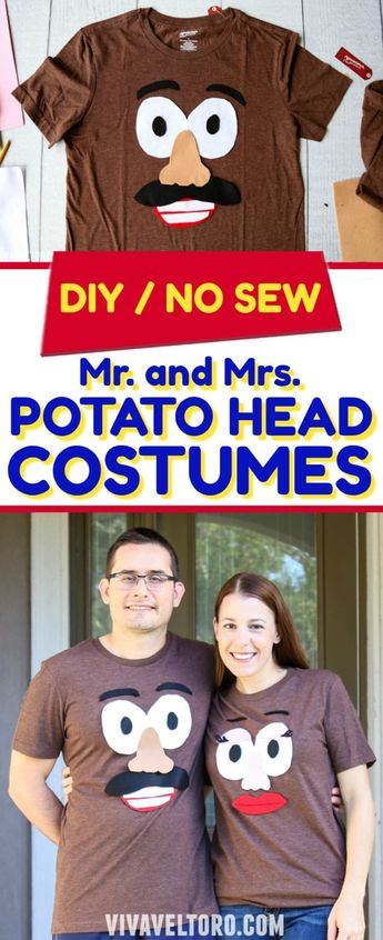 Such an easy Halloween costume for couples! I picked up these T-shirts and easily turned them into Mr. and Mrs. Potato Head! Best part - no sewing required! #NoSew #Halloween #CostumeIdeas #EasyCostume #CostumesForCouples #ToyStory #Disney #Pixar