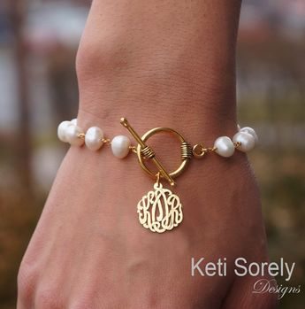 Monogram Initials Bracelet with Cultured White Pearls - Toggle Bracelet (Order Your Initials) Sterling Silver, Yellow Gold or Rose Gold