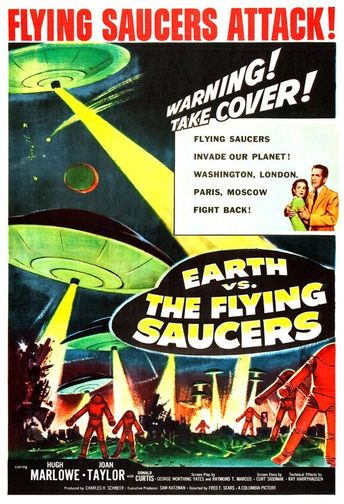 """Earth vs The Flying Saucers - Sci Fi Movie Poster Print - 13""""x19"""" - Home Theater Decor - Vintage Movie Poster - 50s kitsch - b movie"""