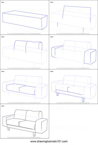 How to Draw a Couch printable step by step drawing sheet : DrawingTutorials101.com #parentsdrawing