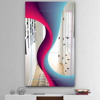 East Urban Home Nebulous Waves 4 Mid-Century Frameless Wall Mirror