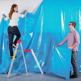 Cover your walls with Light Blue Poly Vinyl. The water resistant, flame retardant Light Blue Poly Vinyl makes an economical decorating choice