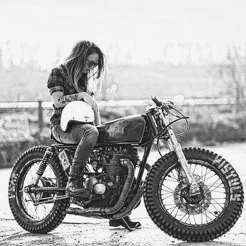 Cafe Racer Girl Biker Chick Awesome