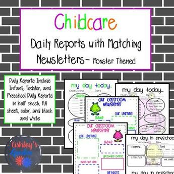 insect themed childcare daily reports daycare