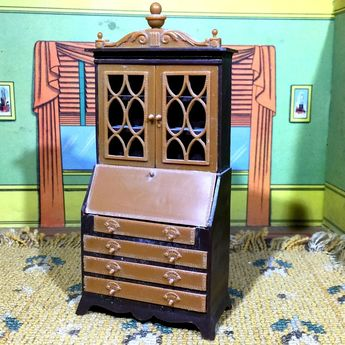 DELICATE SECRETARY DESK Vintage LIVING ROOM Dollhouse Furniture 1:16