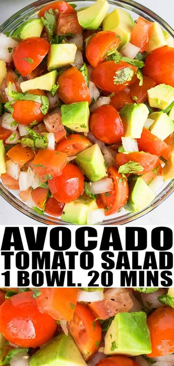 AVOCADO SALAD RECIPE- Quick, easy, healthy, made with simple ingredients in one bowl in 20 minutes. A Mexican salad loaded with tomatoes and lemon dressing. Can also add cucumbers, chicken, prawns, shrimp, corn, beans, lettuce, egg, bacon, spinach, pasta, quinoa. From OnePotRecipes.com #avocado #salad #tomatoes #vegetarian #vegan #onepotrecipes #onepotmeal #healthy #recipes #30minutemeal #30minuterecipes