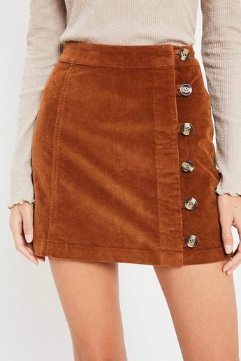 Pretty Little Things Button Corduroy Skirt