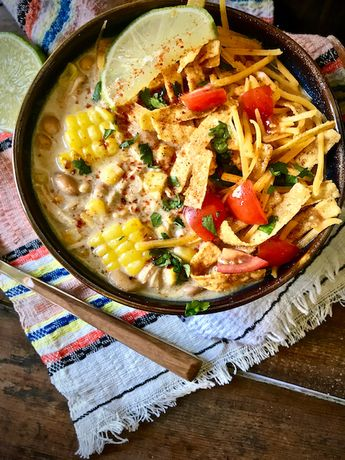 Crockpot Creamy White Chicken Chili - The Skinnyish Dish