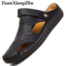 Big size 38-48 casual men sandals slippers comfortable men summer genuine leather sandals mens shoes outdoor beach sandale homme