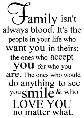 Family isn't always blood Vinyl Decal - Family Wall Decal Quote, Home Vinyl Decor, Family, Living Ro