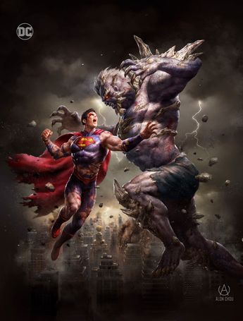 DC Comic Book Artwork • Superman Vs Doomsday by Alon Choa. We Follow us for more awesome comic art, or check out our online store www.7ate9comics.com