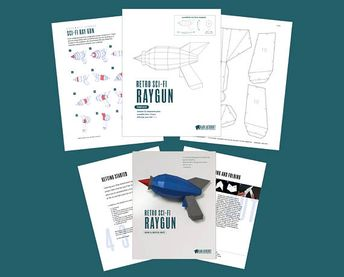 Raygun Papercraft, Low Poly Retro Raygun, Steampunk Raygun, Space Gun, Sci-Fi Laser Gun, DIY Cosplay Ray Gun Prop - Printable PDF Template