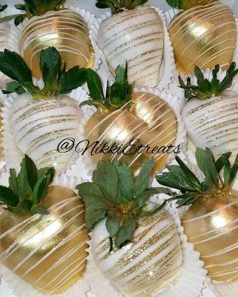 Gold & White Chocolate  Covered Strawberries x @darealnikkie