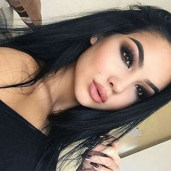 Black and Brown Eyeshadow with a Nude Lip