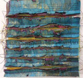 Kim's Hot Textiles: Extreme Surfaces for Stitch - West Dean College July 17 - 20...this is just newspapers (with paint...I think)...Kim Thittichai....c