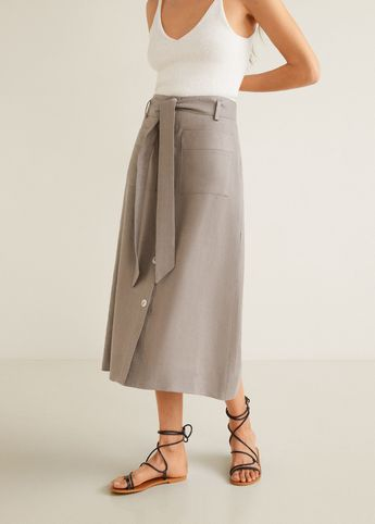 Linen pocketed skirt - Women