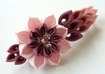 Kanzashi fabric flower french barrette. Floral french clip. Pink flower barrette. Handmade pink french barrette. Pink kanzashi barrette