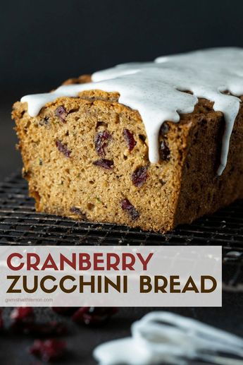 Got extra zucchini? Make this Cranberry Zucchini Bread! It's quick, easy and no one can resist the rich and flavorful vanilla bean glaze! #zucchini #cranberries #quickbread
