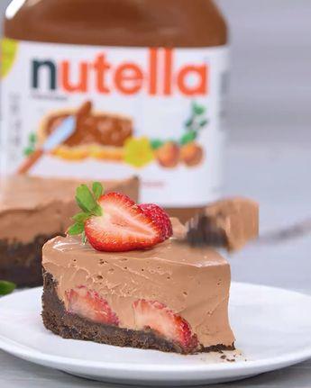 Nobake Strewberry Nutella Cheesecake