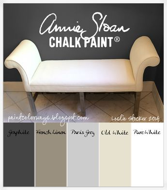 COLORWAYS Painting an upholstered bench with Annie Sloan Chalk Paint®. Old White and Pure White on fabric. Graphite, French Linen, Paris Grey on legs.
