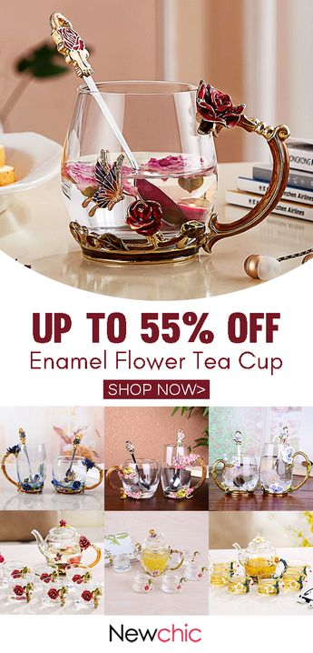 Enamel flowers tea cup.