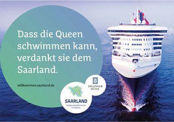 """""""Dass die Queen schwimmen kann, verdankt die dem Saarland"""" steht auf dem Plakat. Es ist Teil des neuen Saarland Marketings """"Großes entsteht immer im Kleinen"""", dem Motto der Kampagne. #saarland #marketing #kampagne"""