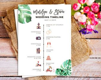 order of the day wedding sign with cute icons fully custom