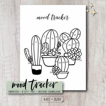 Mood Tracker Printable Insert - Cactus | Bullet Journal, Bujo, Planner Template | Instant Download PDF