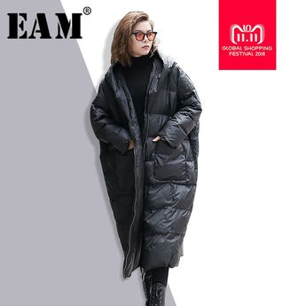 0651d95e30c2e  EAM  2018 New Winter Hooded Long Sleeve Solid Color Black Cotton-padded  Warm