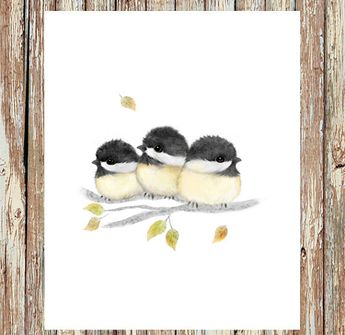 Bird print, baby chickadees painting, bird art for home decor, mother's day gift, nursery print, kids' room decor