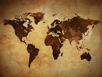 Art Canvas Print - World Map Art on Vintage Background - Brown 3 Panel World Map Print on Canvas, Framed and Streched