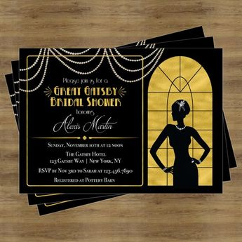 great gatsby invitation gatsby bridal shower invitation black and gold bridal shower invitations