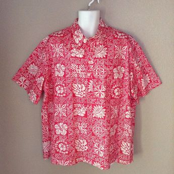 4fb8ec124 Details about Vtg Prince Kuhio Hawaiian SS Shirt 2XL XXL Red Button Down  Pullover Floral Polo