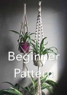 TRINITY Macramé Pattern BEGINNER//Plant Hanger pdf DIY 4 Variations Short Long Square or Spiral Knot Crafter Makers Tutorial