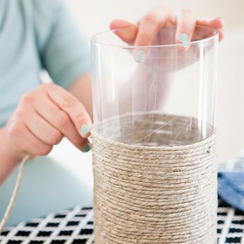 DIY Outdoor Twine Candle Holder