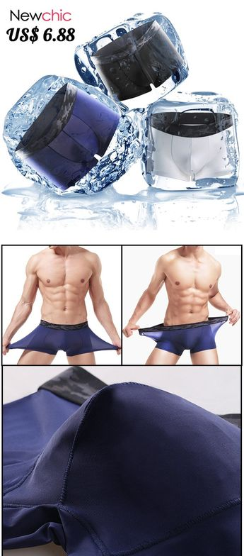 Thin Seamless Ice Silk Underwear Stitching Camouflage Belt Breathable Boxer Brief for Men #mens #underwear