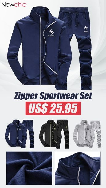 [62%off]Mens Track Suits Solid Color Zipper Sportwear Set #mens #sportwear #athleisure