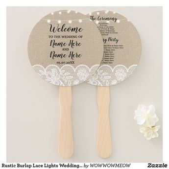 Rustic Burlap Lace Lights Wedding Programme Fan | Zazzle.com