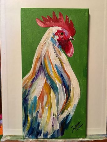 My rooster #AcrylicPainting- Belle Mounette