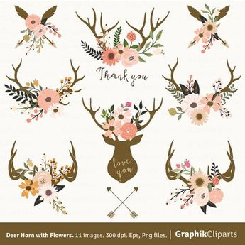 Deer Horn with Flowers. Floral Antlers Clipart, Vector Flowers, Boho Tribal Clipart. 8 images, 300 dpi. Eps, Png files. Instant Download