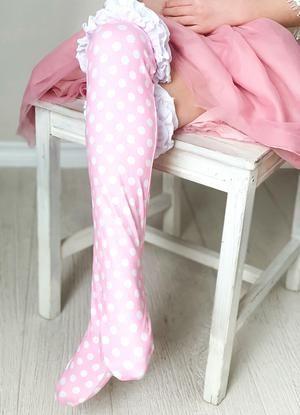 Girls Ruffle Knee High Socks / Pink Polka Dot