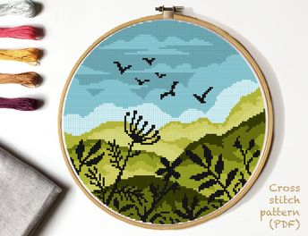 Landscape Modern Cross Stitch Pattern, nature counted cross stitch chart, mountain, floral, green, round, embroidery, INSTANT DOWNLOAD PDF